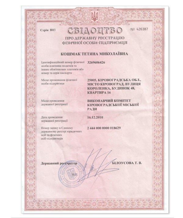 Реєстрацію фізичної особи підприємця